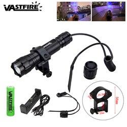 3000lm Q5 latarka LED USB akumulator polowanie Camping latarka zielony/czerwony/UV Lanterna + uchwyt na broń + 18650 + przełącznik ciśnienia + ładowarka w Latarki LED od Lampy i oświetlenie na