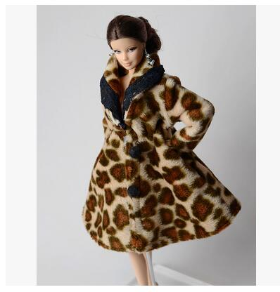 Kids Playhouse Toy Doll Accessories Winter Warm Wear Leopard Coat Clothes For Barbie Dolls Fur Doll Clothing For 1/6 BJD Doll handmade chinese ancient doll tang beauty princess pingyang 1 6 bjd dolls 12 jointed doll toy for girl christmas gift brinquedo