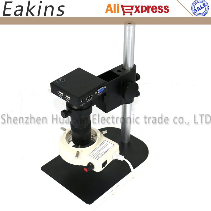 Industrial Microscope sets HD 1080P 1/2.5 CMOS HDMI VGA Microscope Camera +130X C mount lens+56 LED ring Light+stand holder free shipping hd industry microscope camera 2 0mp vga usb cvbs av tv outputs 8x 130x c mount lens