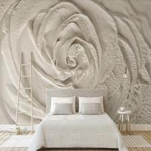 Beige three-dimensional rose flower embossed simple TV background wall 02 beige rose