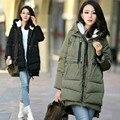 Plus Size da marca mulheres Casaco de Inverno! 2016 Venda Quente! Panos Para As Mulheres Da Moda Para Baixo Casaco sólida Engrossar Casaco Outerwear do Inverno
