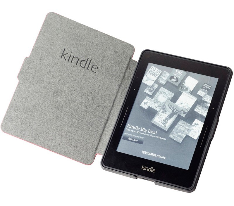 red pu leather ebook case for amazon kindle voyage ereader
