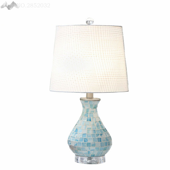 Pastoral Style Creative Elegant Table Lamps Mosaic Blue Glass Bedroom Decorated Lamps Study Living Room Cute Hundred Lighting