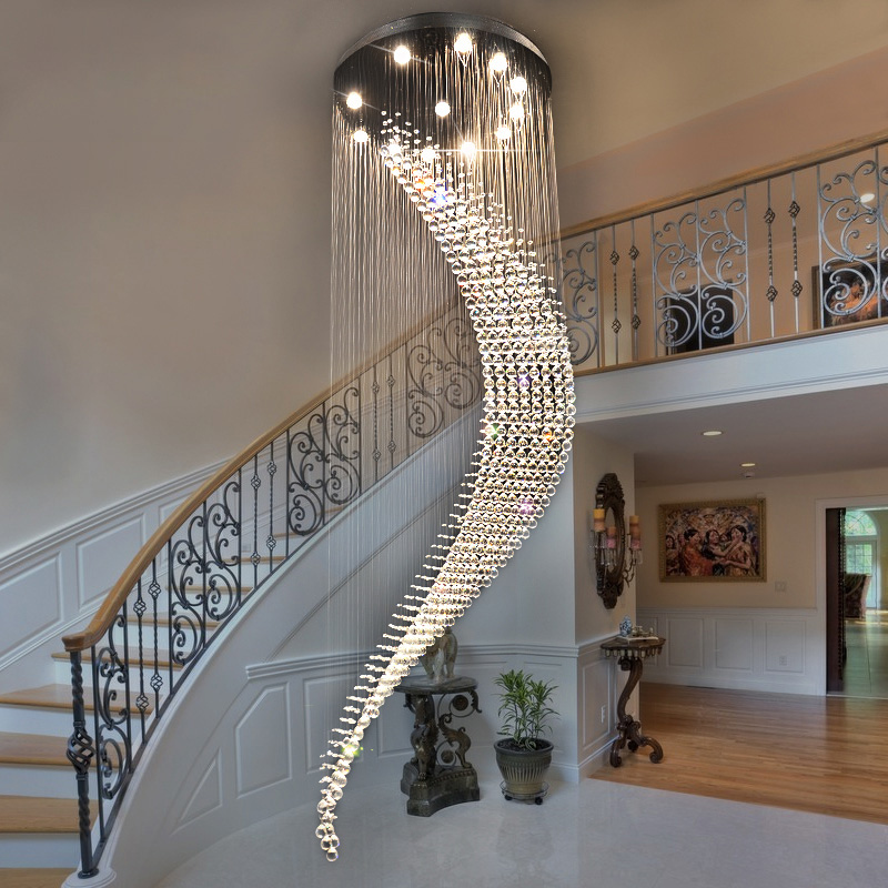 Youlaike moderna ara a de cristal de la escalera espiral for Escaleras de salon