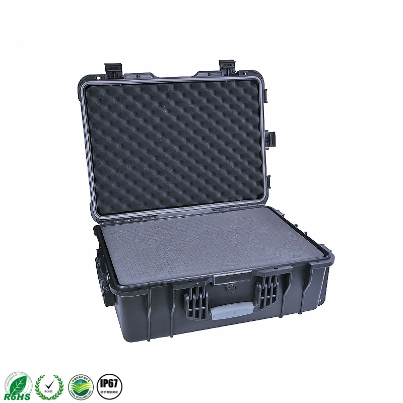 Hard IP67 Plastic Large Suitcase Trolley Tool Case With Pre-cut Foam