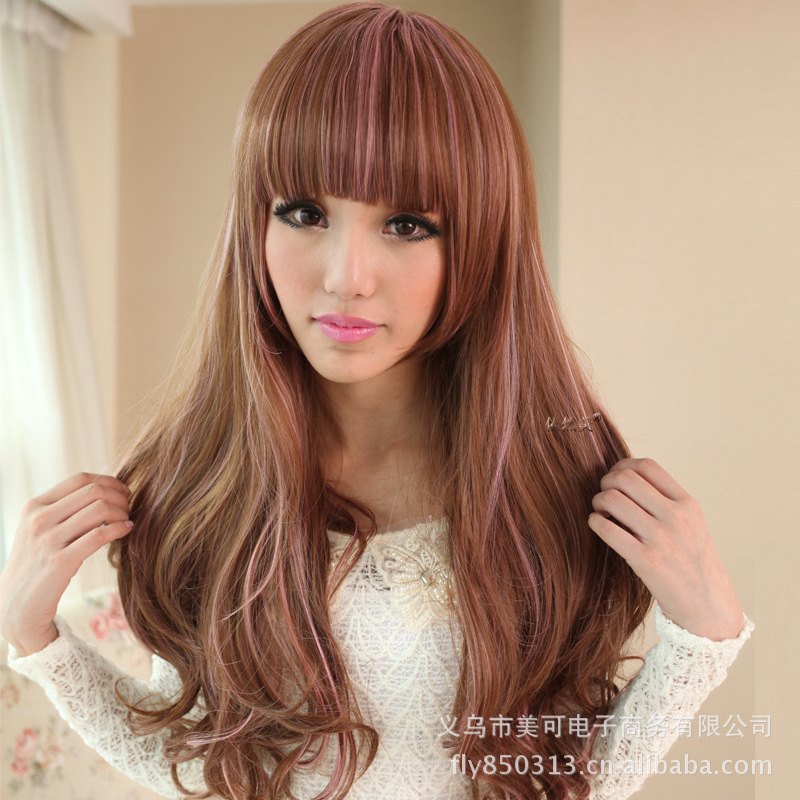 Japanese Anime Original Color Streaked Long Hair Wig Nature Lace Curly Wigs Tyra Banks Hairstyle Perucas Cosplay Large On Aliexpress