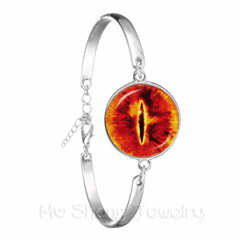 Дракон браслет evil eye Дракон глаз, стекло кабошон Посеребренная пуговица Браслет Модные ожерелье от сглаза Для мужчин модные