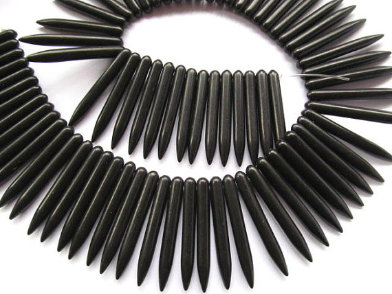 wholesale turquoise beads sharp spikes bar black jet mixed jewelry necklace 40mm 5strands 16inch/L