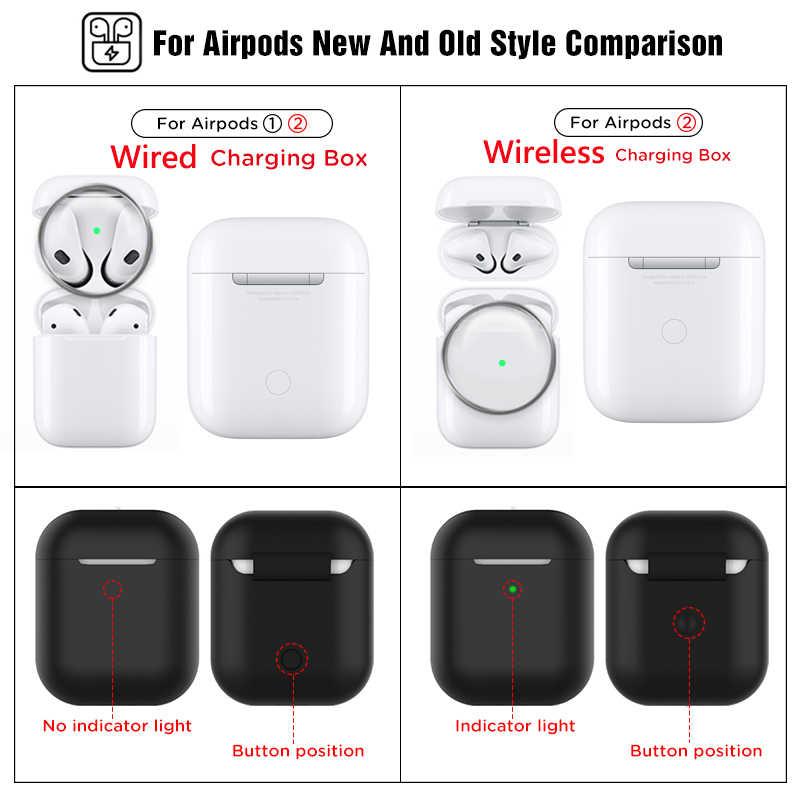 حقيبة سماعة الاذن لاجهزة ابل AirPods 2 غطاء سيليكون لاسلكي سماعة رأس مزودة بتقنية البلوتوث الهواء القرون الحقيبة واقية لحقيبة AirPod Silm