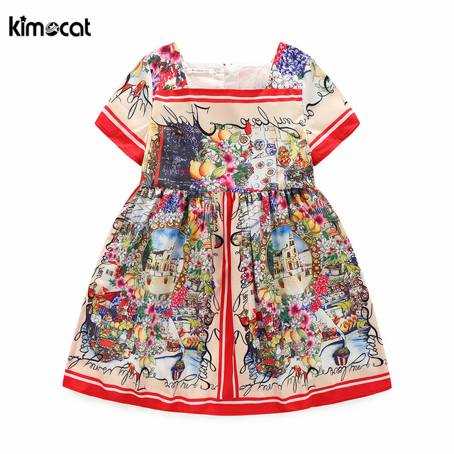 f1ca2c700cdd Kimocat Summer Brand girls Dress Beach Style Floral Print Dresses ...