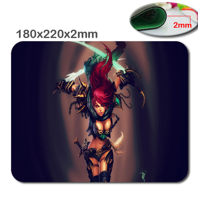 US $2 22 10% OFF|220X180X2mm League of Legends Katarina Computer Mouse Pad  Mousepads Decorate Your Desk Non Skid Rubber Pad Durable Mouse Pad-in Mouse