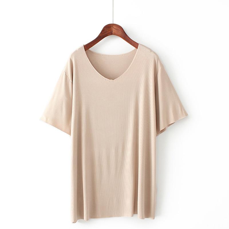 2H Korean version of the new knitted V neck knit T shirt 2019 slim dress summer