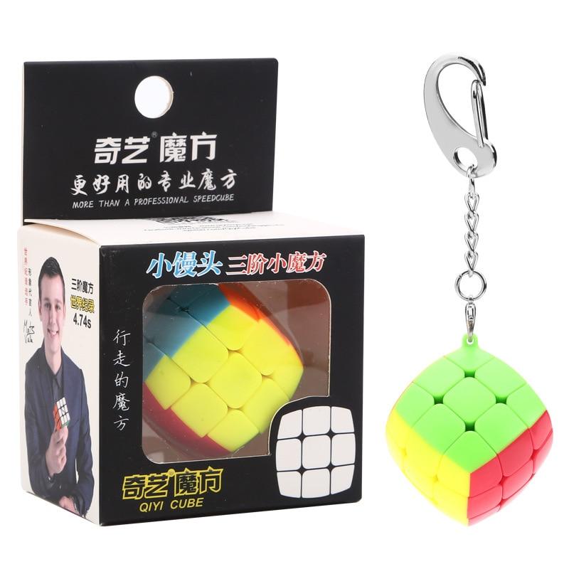 Qiyi Small Bun 3x3x3 Cube Keychain 3cm Cube Keyring Cube Puzzle Toy Gift For Children Beginner Pendant Chain Magic Cube Key Ring