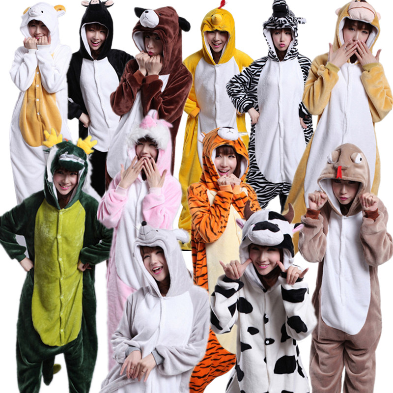 Adult's Kigurmi Pig Rabbit Tiger Monkey Dragon Sheep Snake Chick Horse Rat Dog Cow Flannel Onesies Pajamas