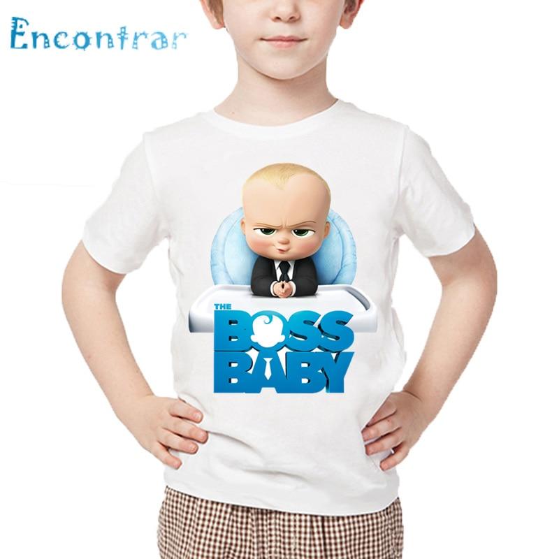Kids The Boss Baby Print Funny T shirt Children Summer Short Sleeve White Tops Boys and Girls Cartoon T-shirt,HKP5192 stx big boys raglan t shirt and athletic short