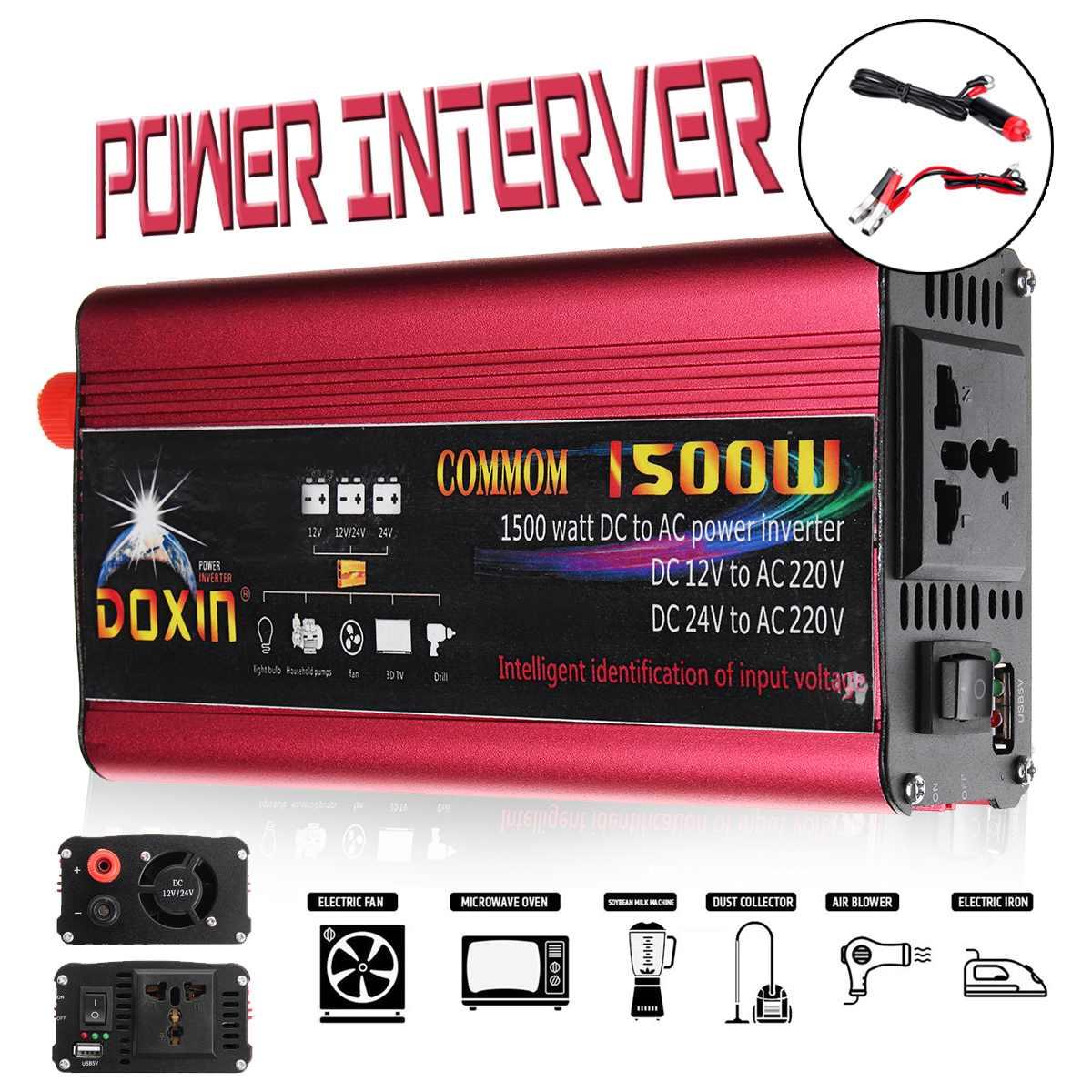 1500w/3000w P eak Power Inverter Converter Car Inverter Charger Adapter DC 12V 24V To AC 220V USB Plug Port Modified Sine Wave1500w/3000w P eak Power Inverter Converter Car Inverter Charger Adapter DC 12V 24V To AC 220V USB Plug Port Modified Sine Wave
