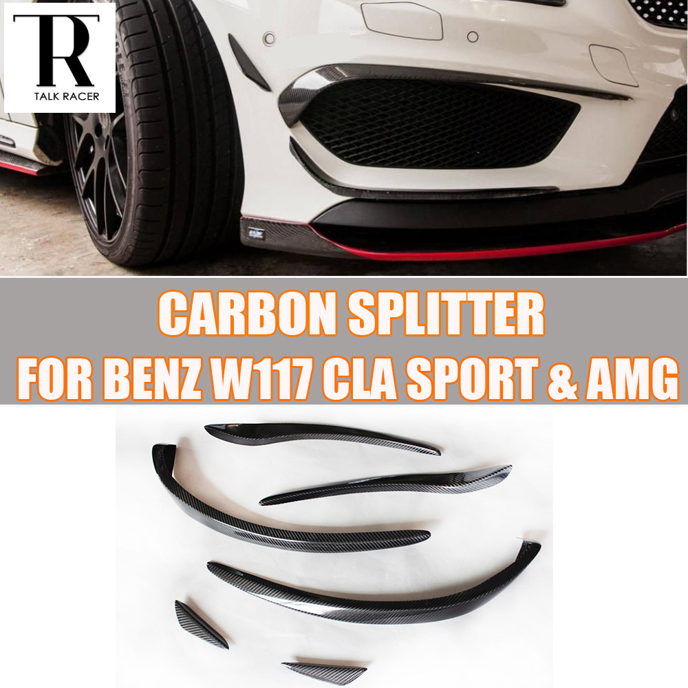 C117 Carbon Fiber Front Bumper Side Canards Splitter Spoiler for Benz W117 CLA180 CLA200 CLA250 CLA45 AMG Sport Bumper 14 - 16 for mercedes benz cla class w117 cla180 cla200 cla250 cla45 amg carbon fiber front lip splitter flap canard fits sporty car amg