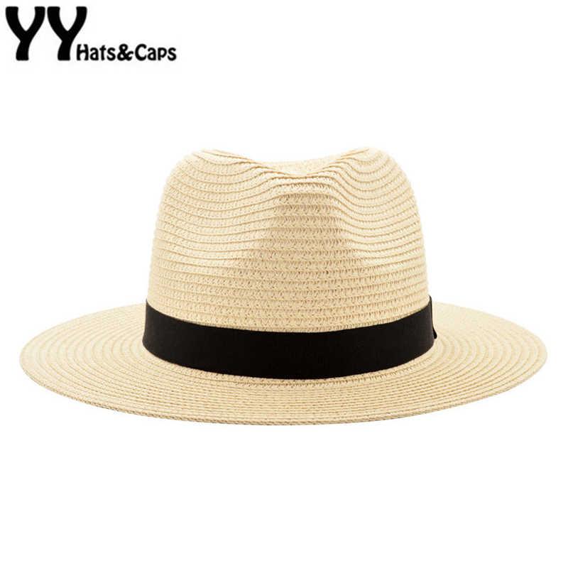 1b05b3ca3cf Wide Brim Summer Fedora Jazz Cap Beige Panama Hats For Men Straw Sun Hats  Women Beach