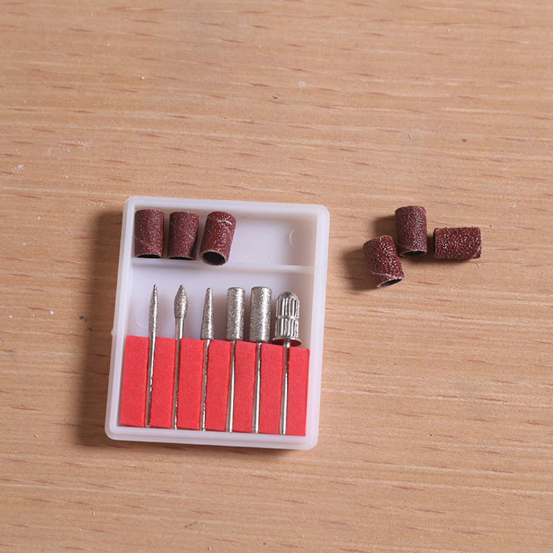 6pcs Nail Grinding Head Sand Ring Diamond Shank Nail Polisher Dedicated Polishing Circle Sand Ting And Carveing Drill Bit Set