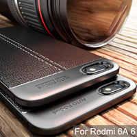 Étui robuste pour Xiaomi Redmi 6A étui en Silicone pare-chocs mat Litchi motif antichoc couverture arrière pour Xiaomi Redmi 6A étui