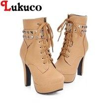 28859da52 2018 legal do estilo tamanho grande 40 41 42 43 44 45 46 47 48 49 Lukuco  mulheres botas Rebite design de alta qualidade sapatos .