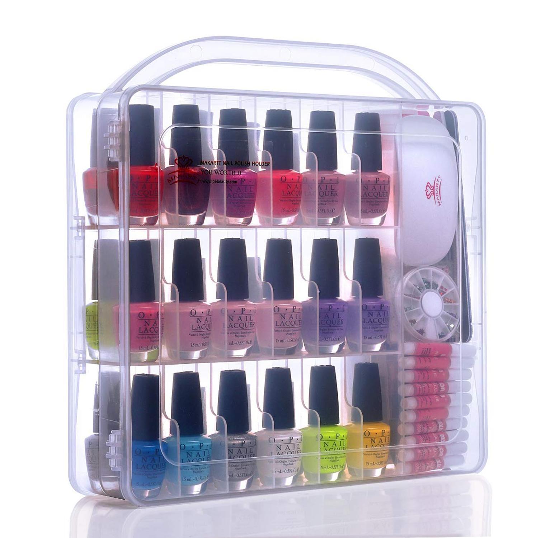 MAKARTT Universal Nail Polish Organizer Holder Compartment Space Saver Nail Beauty Tools Nail Polish Case Box