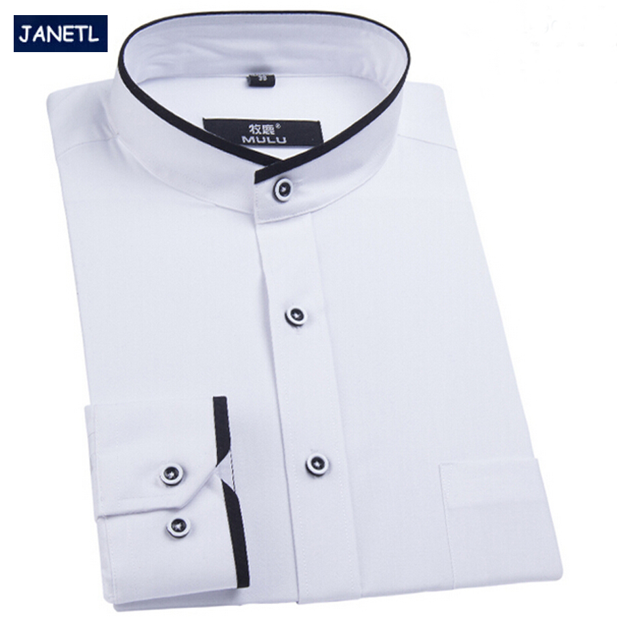Popular mandarin collar shirts for men buy cheap mandarin for Mens high collar dress shirts