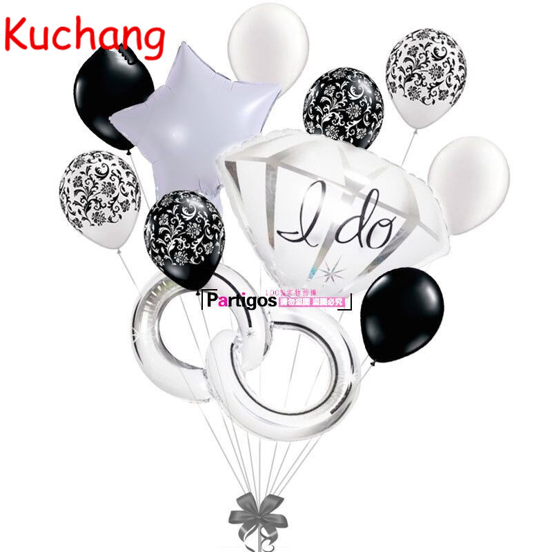 10pcs/lot 32inch I Do Diamond Ring Balloons Wedding Valentines Ring Star Helium 12inch Damask latex Balloon Decor Lover Gifts ...