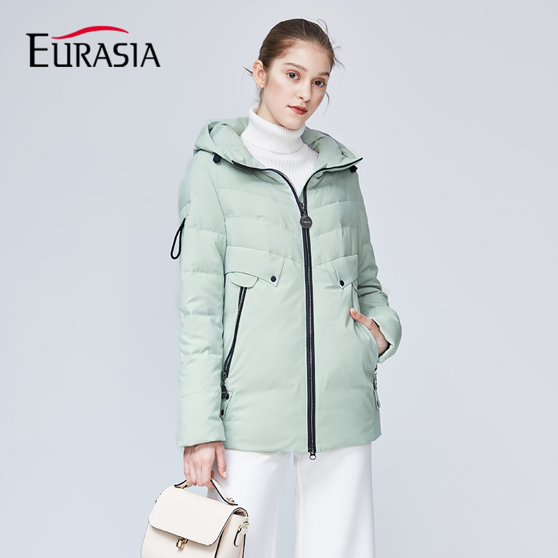 EURASIA New Brand Hooded Womens Winter Coat Full Jacket Thick Parkas Zipper Sustans Lady Jackets Outerwear Green YD1860