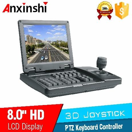 3D Joystick  PTZ Controller 8 inchLCD Analog PTZ Keyboard Controller for Vehicle PTZ Camera in SDI and CVBS daul  input