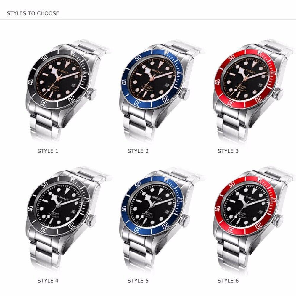 럭셔리 브랜드 기계식 시계 빛나는 사파이어 남자 자동 군사 스포츠 수영 시계 가죽 기계식 손목 시계-에서기계식 시계부터 시계 의  그룹 1
