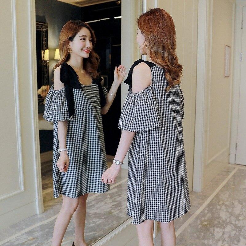 100% QualitäT Schwangere Frauen Kleid Mode Gehen Fütterung Kleidung Undichten Schulter Plaid Stillen Kleid Hot Mom Kleid Mild And Mellow