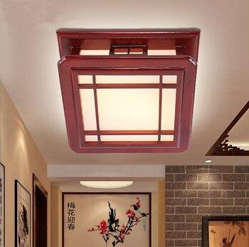 Estilo chinês antigo quadro vermelho de madeira maciça luzes teto rural nostálgico minimalista acryl sombra lâmpada led para salão & quarto