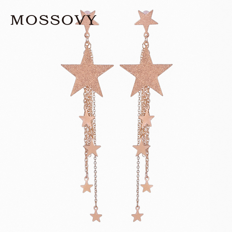 Mossovy Fashion Star Erring Long Style Tassel Charms Korean Earrings Silver Gold Color Trendy Drop Earring Jewelry For Women ...
