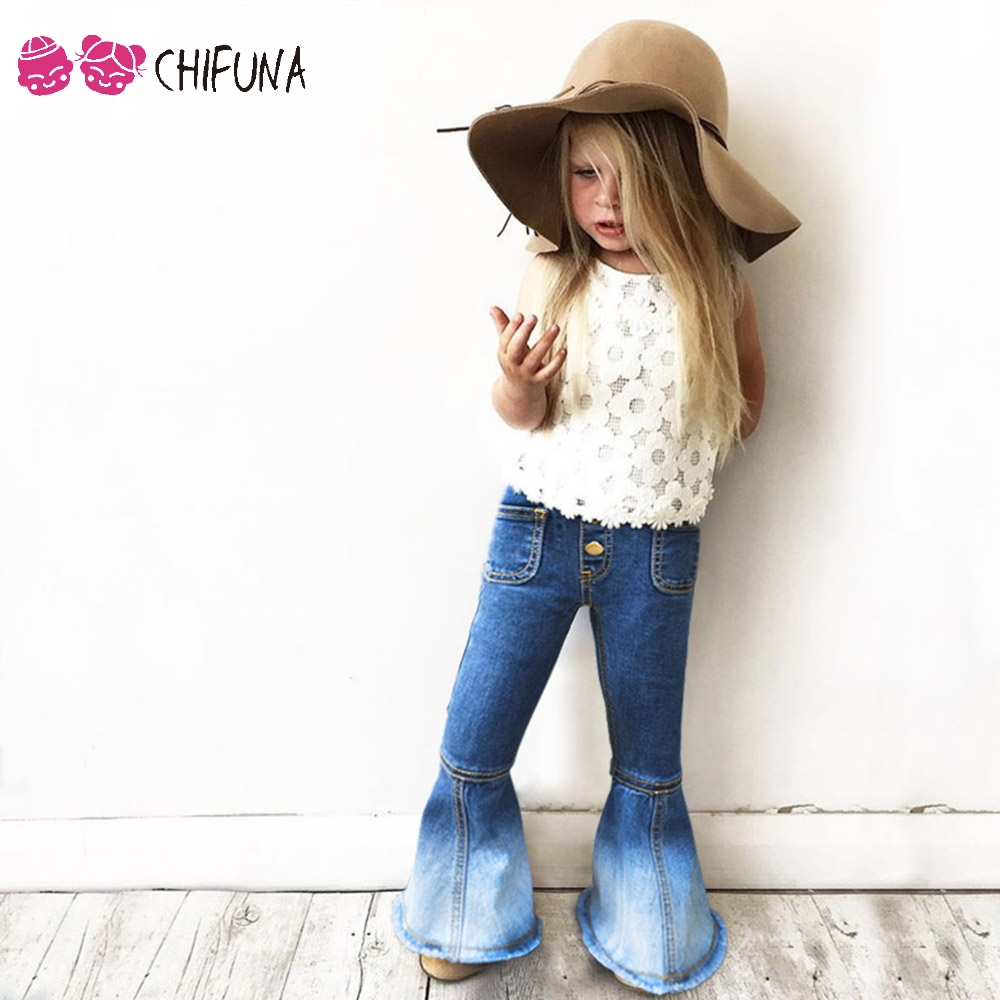 chifuna 2017 New Girls Bell-bottomed Pants Spring Children Trousers Outfits Baby Costume Fashion Kids Vintage Jeans