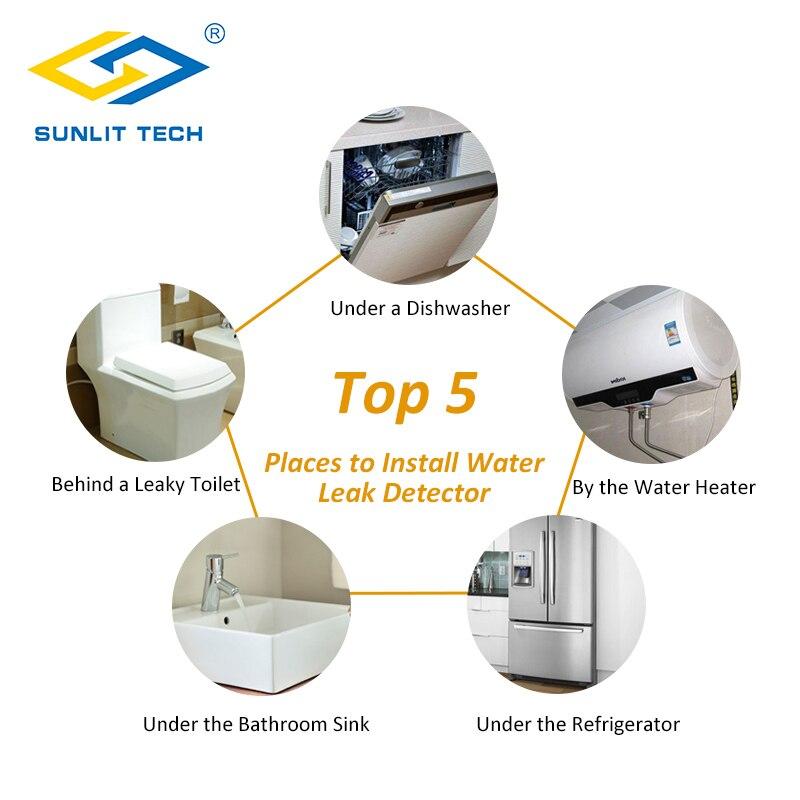 Casa inteligente detector de vazamento de água controle de alarme sensor de vazamento detecção alerta inundação overflow sistema de alarme de segurança em casa 12