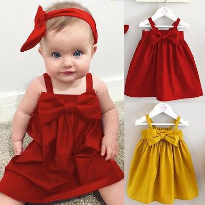 Summer Baby Girls Toddler Kid Sundress Bowknot Short Mini Vest Dress Outfit 0-3Y
