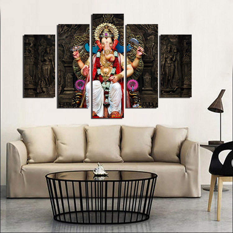 5 panel printed group canvas painting india ganesha canvas - Modern wall decor for living room ...