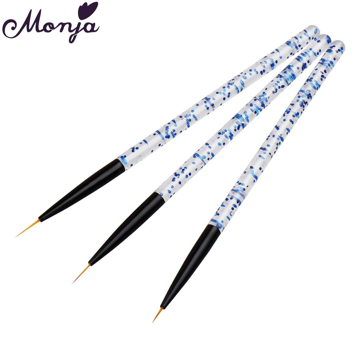 Monja 3Pcs/Set Nail Art Acrylic Handle Lines Stripes Liner Painting Brush Flower Pattern DIY Design Drawing Brush Manicure Tools(China)