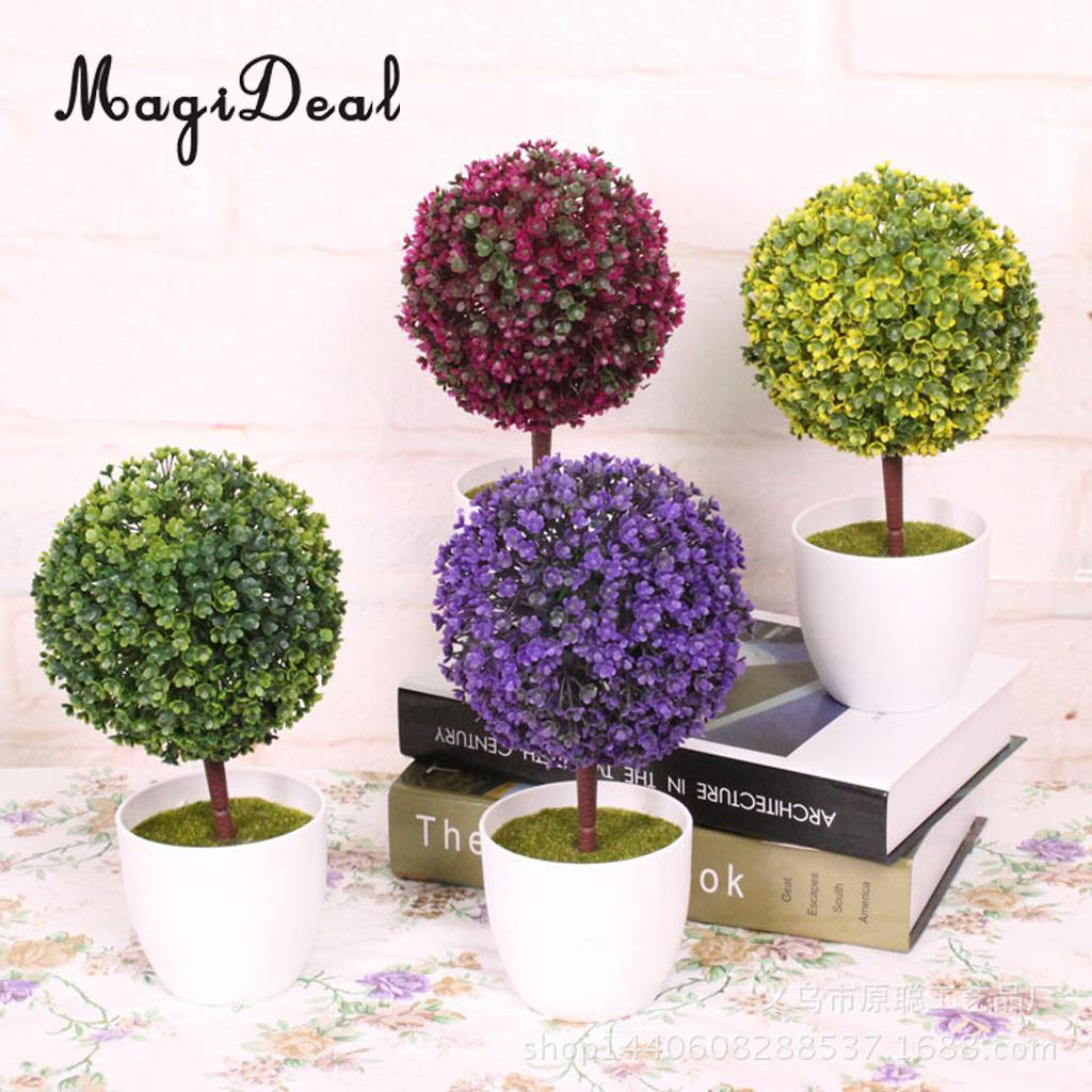 Simulation Artificial Flowers Milan Ball Topiary Grass Bonsai Floral Ornaments Potted Plants for Home Wedding Tabletop Decor