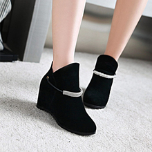 QUDUOWEI 2018 New Bling Rhinestone Shoes Women Height Increasing Boots Black Beige Fashion Women Ankle Boots Plus Size 34-43
