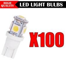 100 pçs novo super brilhante branco lado cunha 5 smd 5050 led interior luz 168 194 2825 w5w frete grátis