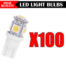 100PCS New Super Bright White Side Wedge 5 SMD 5050 LED Interior Light 168 194 2825 W5W Free Shipping