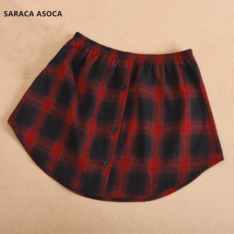 Wholesale Retail Fashion Fake Skirt Hem Collar Women All Match Spring Winter Plaid Detachable Skirt Hem Lady