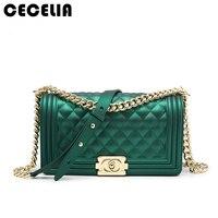 Cecelia Women S PVC Handbags Ladies Brief Striped Chains Shoulder Messenger Purse Female Flap Brand Female