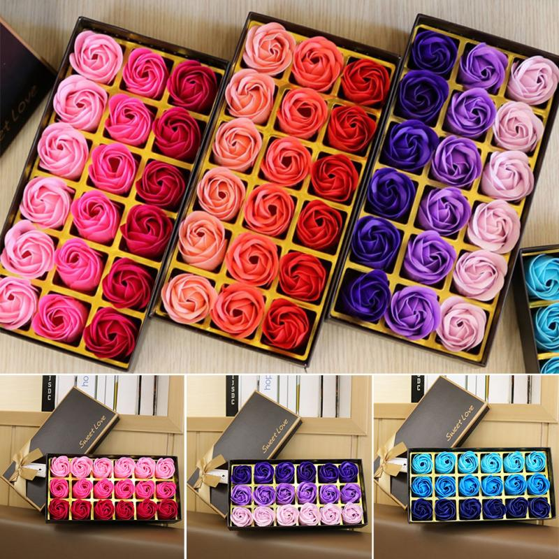 3 Colors 18Pcs/box Simulation Rose Soap With Gift Box Women Girl Bath Facial Soap Valentine's Day Birthday Wedding Gifts
