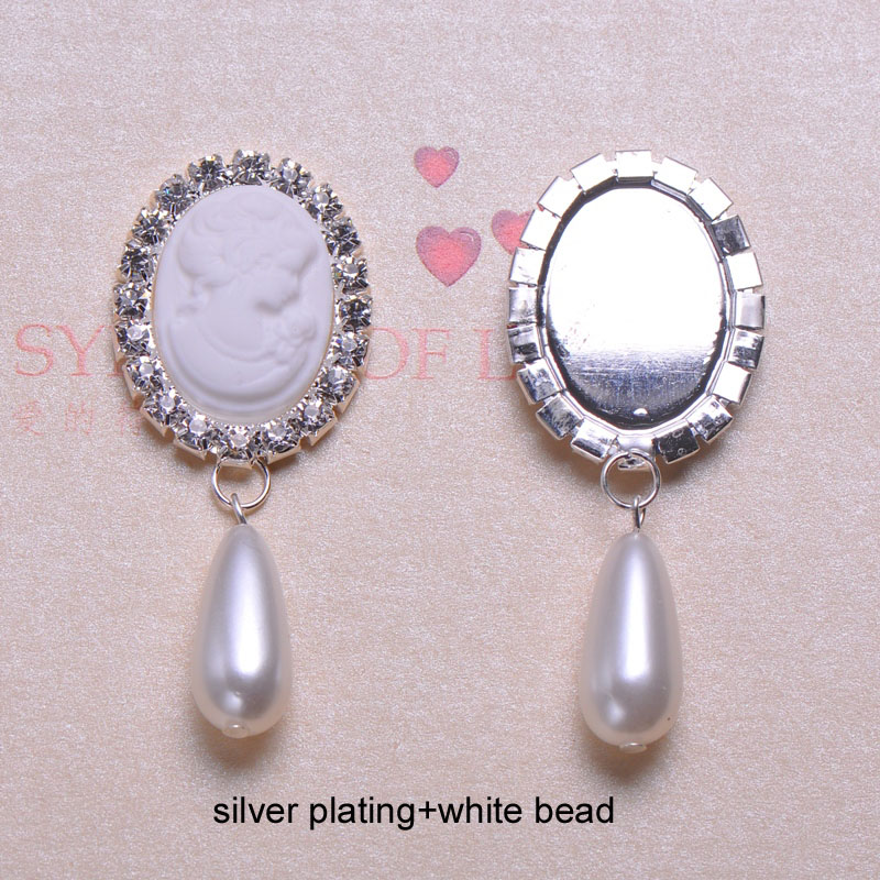 J0589 26mmX63mm rhinestone button flat back cameo beads in middle 4 styles 100pcs lot