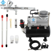 OPHIR 3 Tips Dual Action Airbrush Gravity Paint Air Brush with 110V,220V Air Tank Compressor for Nail Art Body Paint _AC090+070