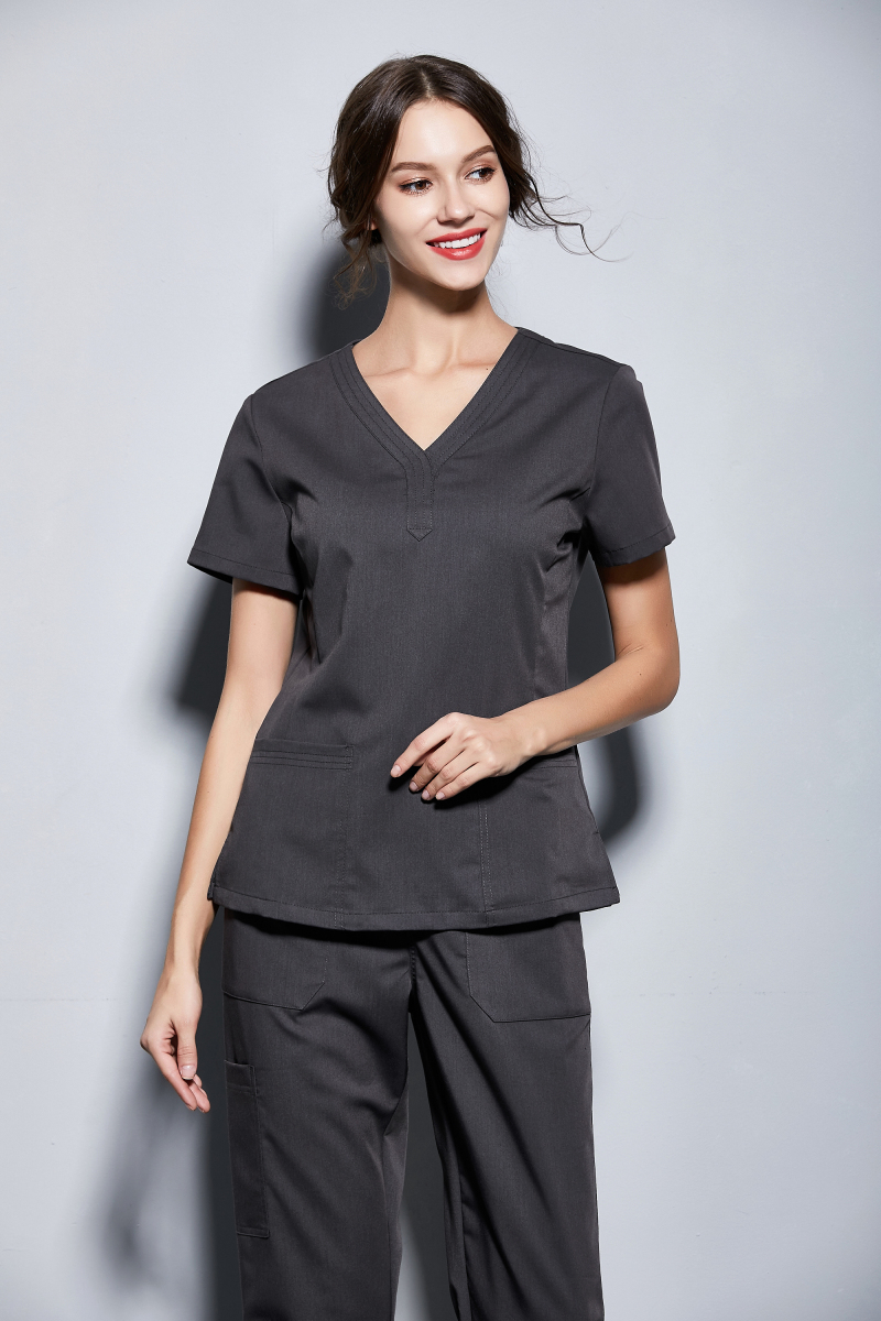 New Women's Medical Black Scrubs Ladies' Short Sleeve Scrub Uniforms Set Dental Clinic Fancy Design Surgical Clothes Slim Fit