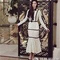 Alta qualidade new fashion 2017 runway designer dress luva longa das mulheres patchwork bow mermaid lace dress